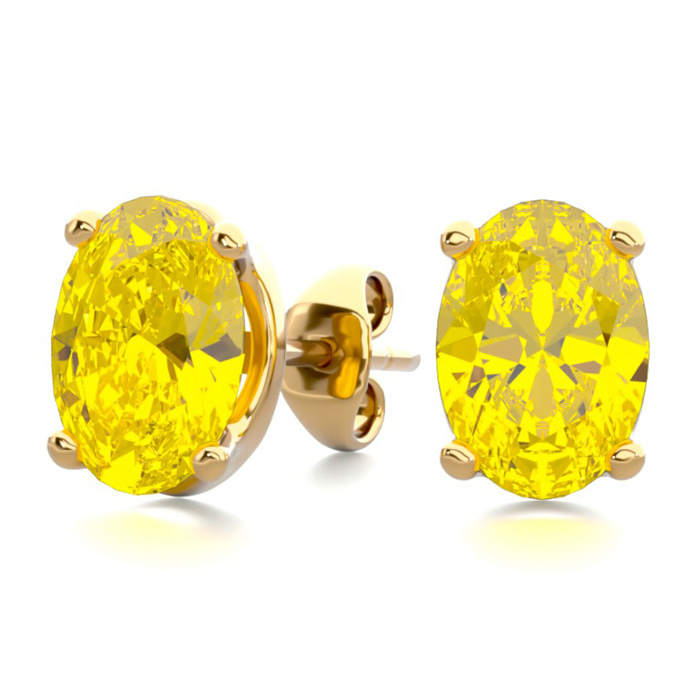 1.5 Carat Oval Shape Citrine Stud Earrings in 14K Yellow Gold Ove