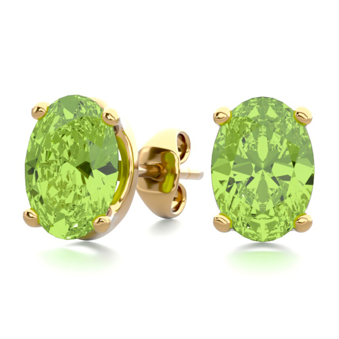 1 3/4 Carat Oval Shape Peridot Stud Earrings in 14K Yellow Gold O