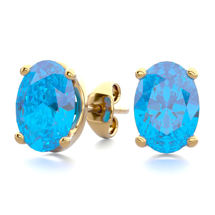 2 Carat Oval Shape Blue Topaz Stud Earrings in 14K Yellow Gold Ov