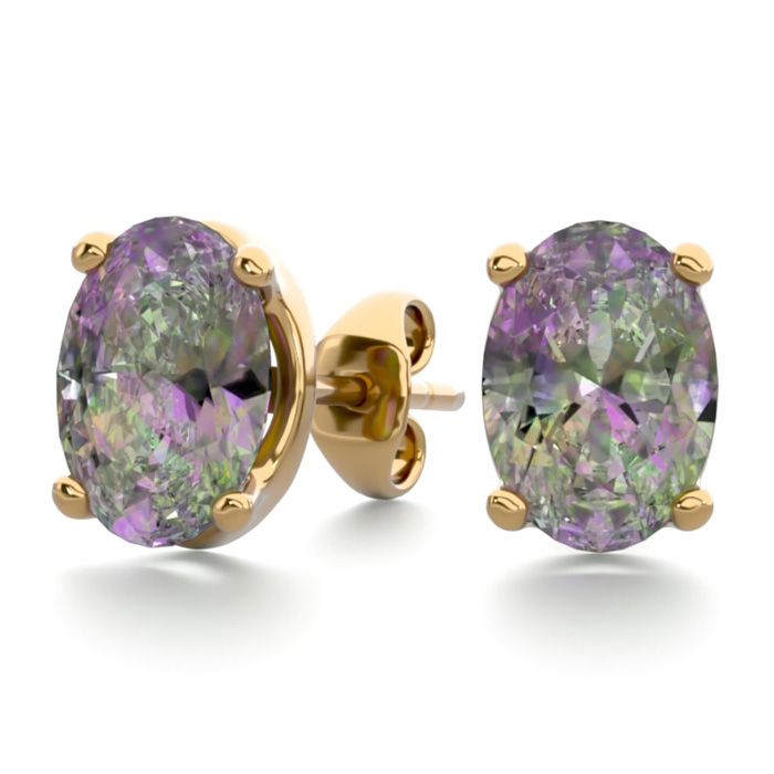 1.5 Carat Oval Shape Mystic Topaz Stud Earrings in 14K Yellow Gol