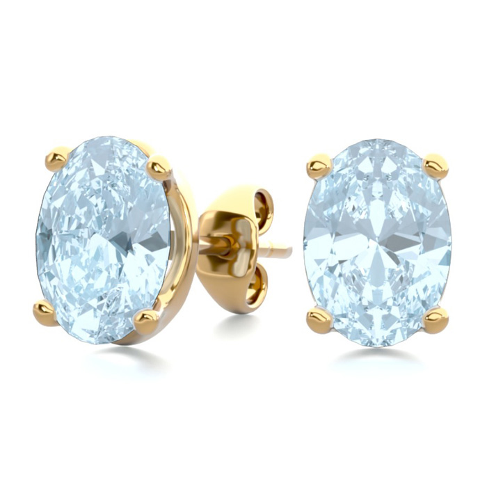 1.5 Carat Oval Shape Aquamarine Stud Earrings in 14K Yellow Gold