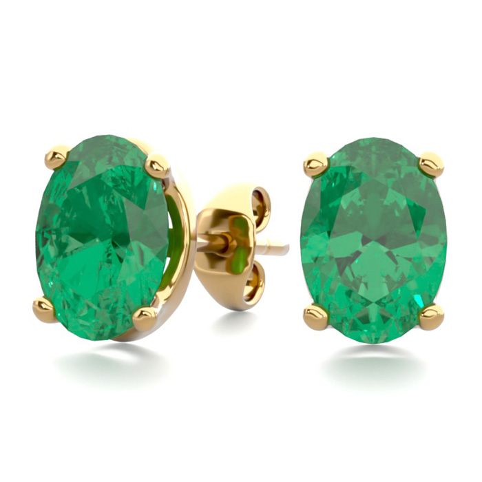 1 1/2 Carat Oval Shape Emerald Stud Earrings In 14K Yellow Gold Over Sterlin..