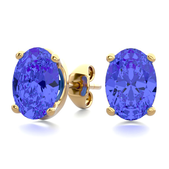 2 Carat Oval Shape Tanzanite Stud Earrings in 14K Yellow Gold Ove