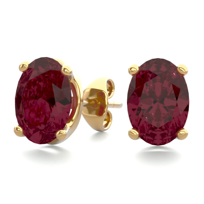 2 Carat Oval Shape Garnet Stud Earrings in 14K Yellow Gold Over S