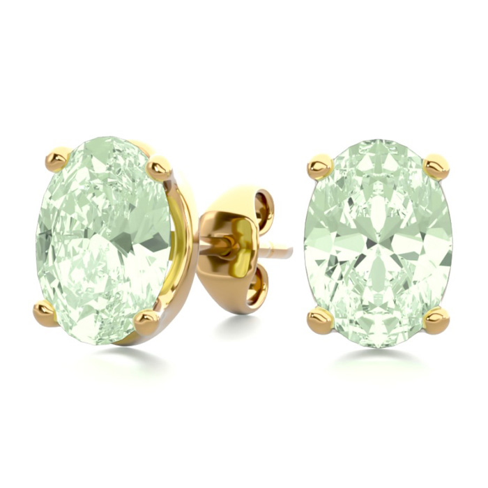 1.5 Carat Oval Shape Green Amethyst Stud Earrings in 14K Yellow Gold Over Sterling Silver by SuperJeweler