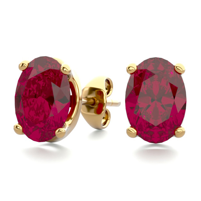 2 Carat Oval Shape Ruby Stud Earrings in 14K Yellow Gold Over Ste