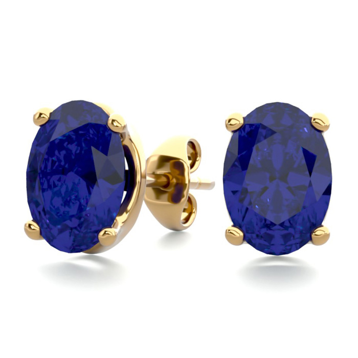 2 Carat Oval Shape Sapphire Stud Earrings in 14K Yellow Gold Over