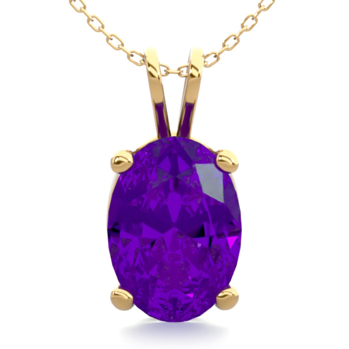 3/4 Carat Oval Shape Amethyst Necklace in 14K Yellow Gold Over St