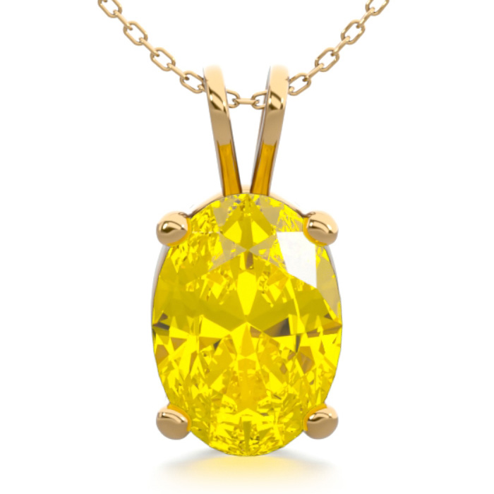 3/4 Carat Oval Shape Citrine Necklace in 14K Yellow Gold Over Ste