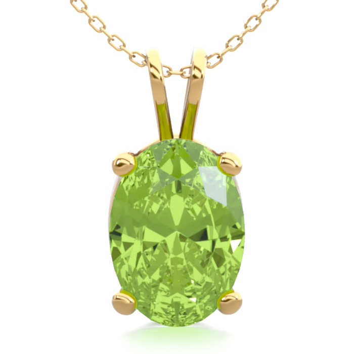 1 Carat Oval Shape Peridot Necklace in 14K Yellow Gold Over Sterl