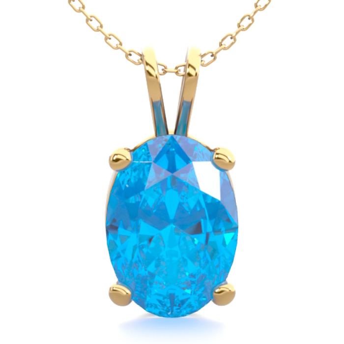 1 Carat Oval Shape Blue Topaz Necklace in 14K Yellow Gold Over St