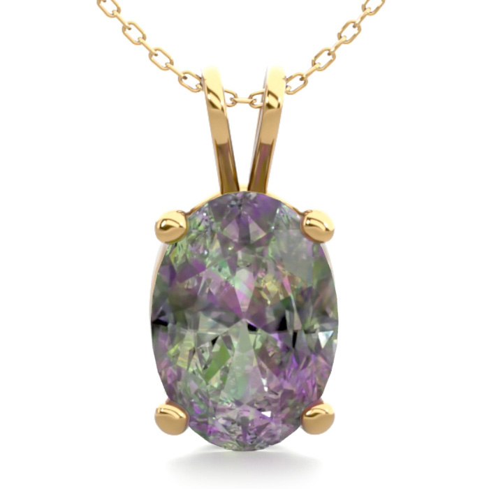 3/4 Carat Oval Shape Mystic Topaz Necklace in 14K Yellow Gold Ove