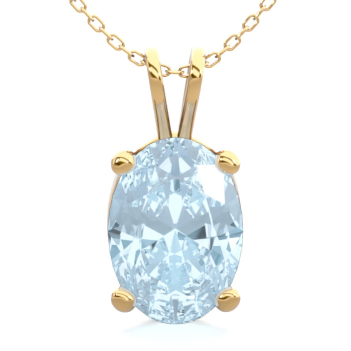 3/4 Carat Oval Shape Aquamarine Necklace in 14K Yellow Gold Over