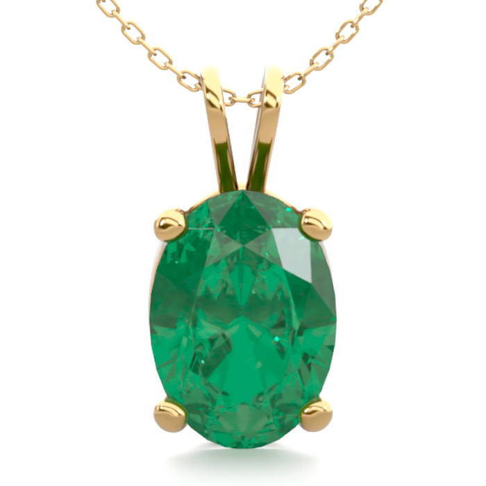 3/4 Carat Oval Shape Emerald Necklace in 14K Yellow Gold Over Ste