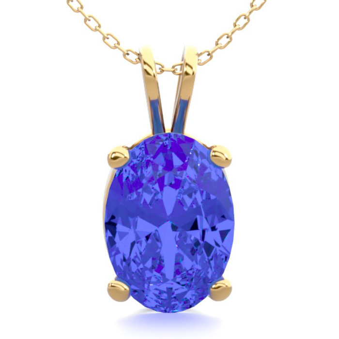 1 Carat Oval Shape Tanzanite Necklace in 14K Yellow Gold Over Ste