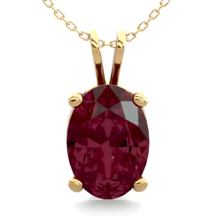 1 Carat Oval Shape Garnet Necklace in 14K Yellow Gold Over Sterli