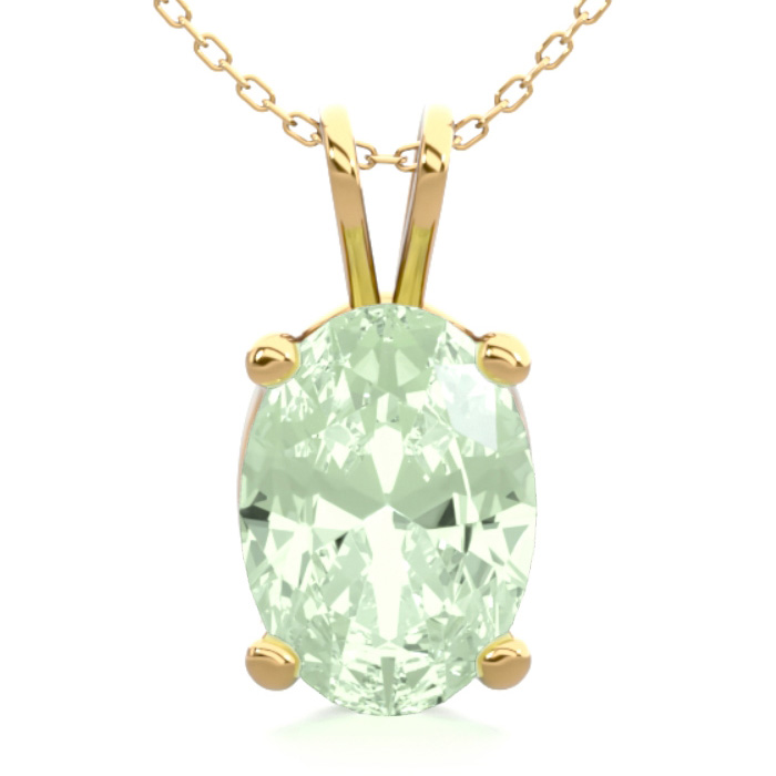 3/4 Carat Oval Shape Green Amethyst Necklace in 14K Yellow Gold O