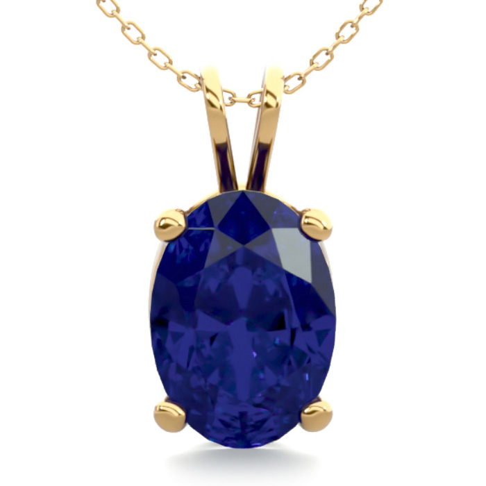 1 Carat Oval Shape Sapphire Necklace in 14K Yellow Gold Over Ster