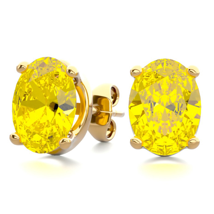 2 Carat Oval Shape Citrine Stud Earrings in 14K Yellow Gold Over