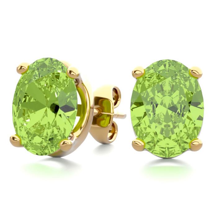 2 3/4 Carat Oval Shape Peridot Stud Earrings in 14K Yellow Gold O