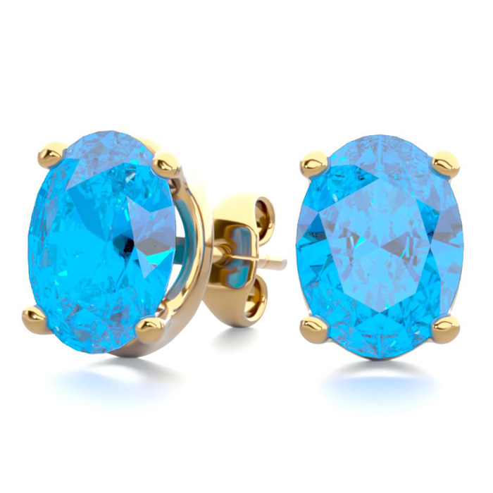 3 Carat Oval Shape Blue Topaz Stud Earrings in 14K Yellow Gold Ov