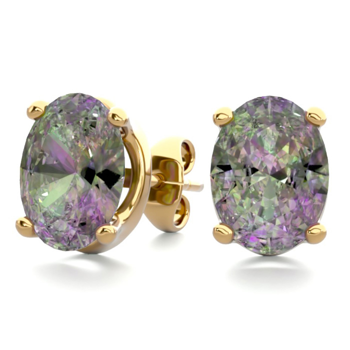 2 Carat Oval Shape Mystic Topaz Stud Earrings in 14K Yellow Gold