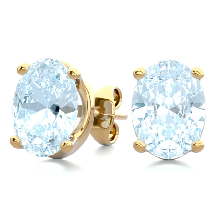 2 1/3 Carat Oval Shape Aquamarine Stud Earrings in 14K Yellow Gol