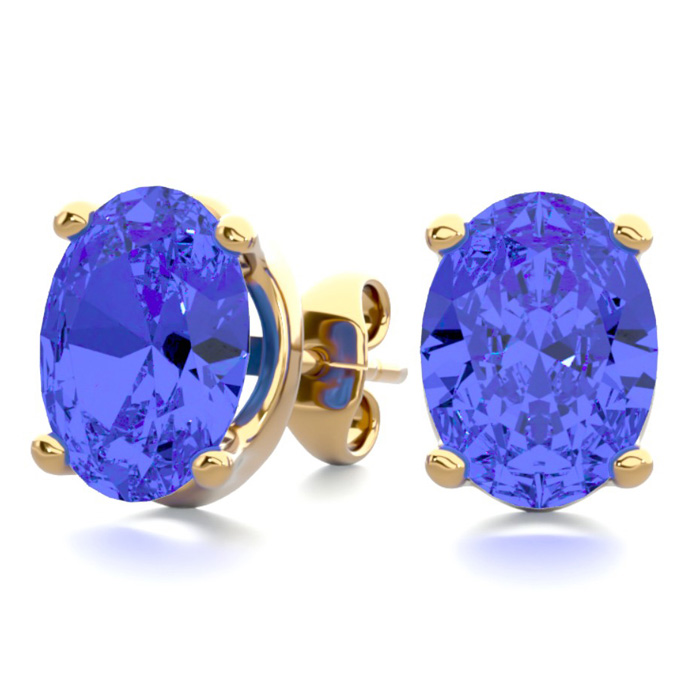 2.5 Carat Oval Shape Tanzanite Stud Earrings in 14K Yellow Gold O