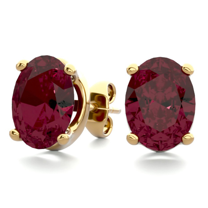 3 Carat Oval Shape Garnet Stud Earrings in 14K Yellow Gold Over S