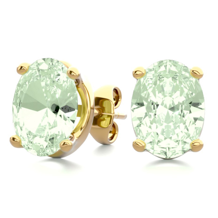 2 Carat Oval Shape Green Amethyst Stud Earrings in 14K Yellow Gol