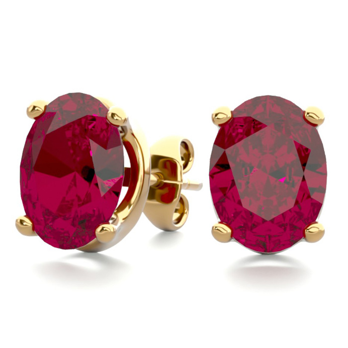 3 Carat Oval Shape Ruby Stud Earrings in 14K Yellow Gold Over Ste