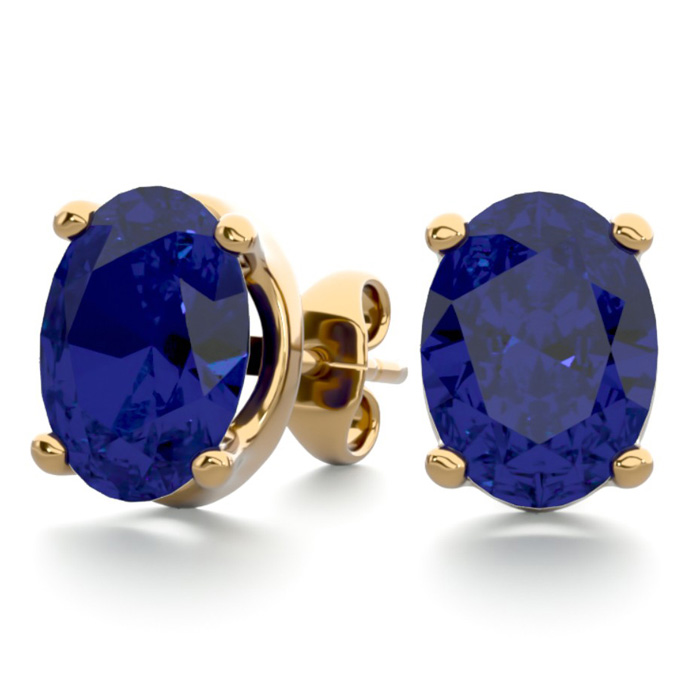 3 Carat Oval Shape Sapphire Stud Earrings in 14K Yellow Gold Over