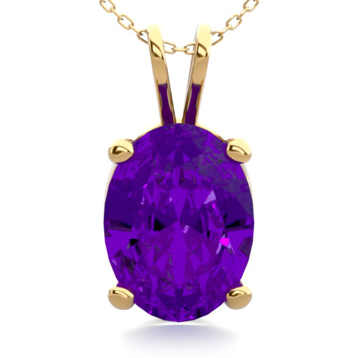 1 Carat Oval Shape Amethyst Necklace in 14K Yellow Gold Over Ster
