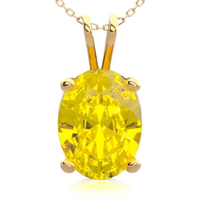 1 Carat Oval Shape Citrine Necklace in 14K Yellow Gold Over Sterl