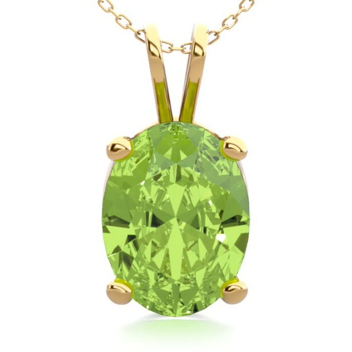 1 1/3 Carat Oval Shape Peridot Necklace in 14K Yellow Gold Over S