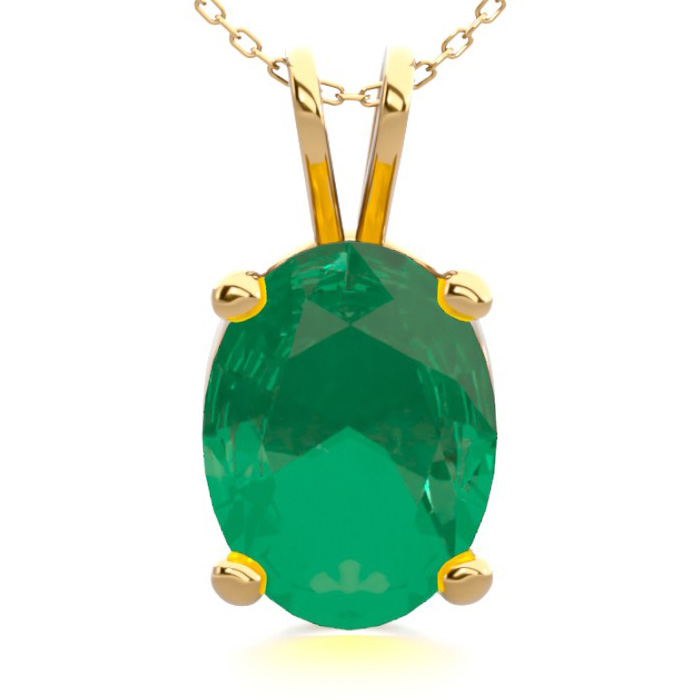 1 Carat Oval Shape Emerald Necklace in 14K Yellow Gold Over Sterl