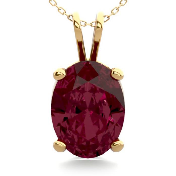 1.5 Carat Oval Shape Garnet Necklace in 14K Yellow Gold Over Ster