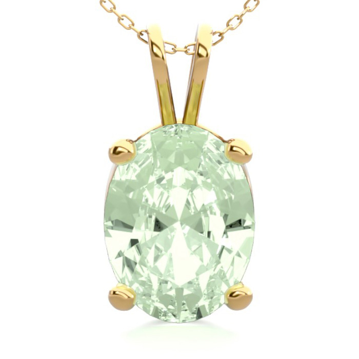 1 Carat Oval Shape Green Amethyst Necklace in 14K Yellow Gold Ove