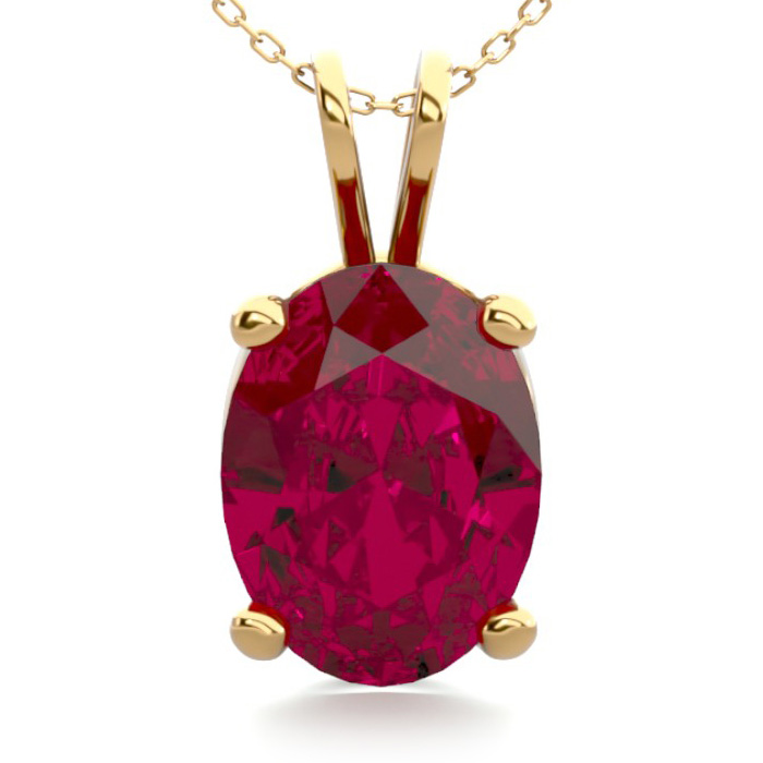 1.5 Carat Oval Shape Ruby Necklace in 14K Yellow Gold Over Sterli