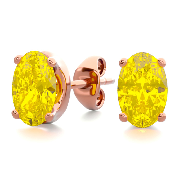 1 Carat Oval Shape Citrine Stud Earrings in 14K Rose Gold Over St