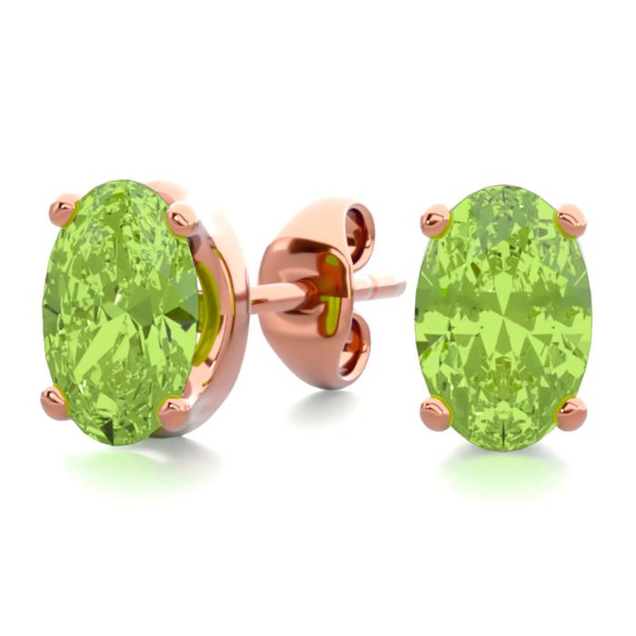 1 Carat Oval Shape Peridot Stud Earrings in 14K Rose Gold Over Sterling Silver by SuperJeweler