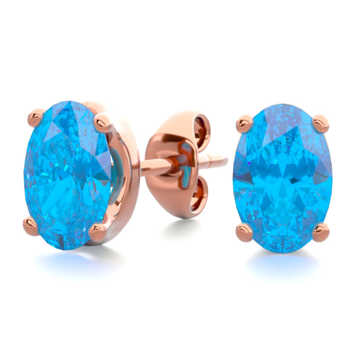 1 Carat Oval Shape Blue Topaz Stud Earrings in 14K Rose Gold Over