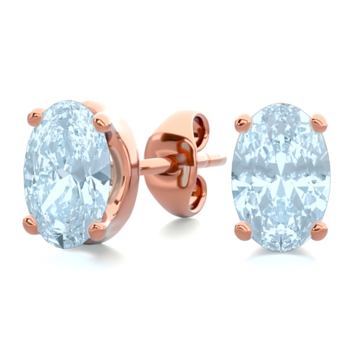 1 Carat Oval Shape Aquamarine Stud Earrings in 14K Rose Gold Over