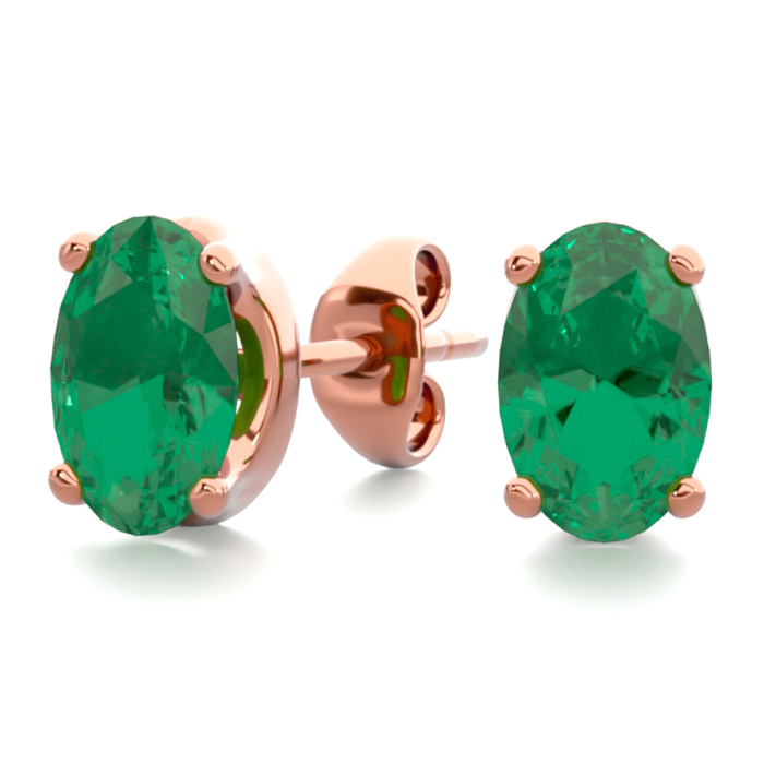 1 Carat Oval Shape Emerald Stud Earrings in 14K Rose Gold Over St