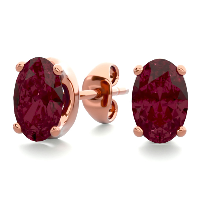 1 Carat Oval Shape Garnet Stud Earrings in 14K Rose Gold Over Ste