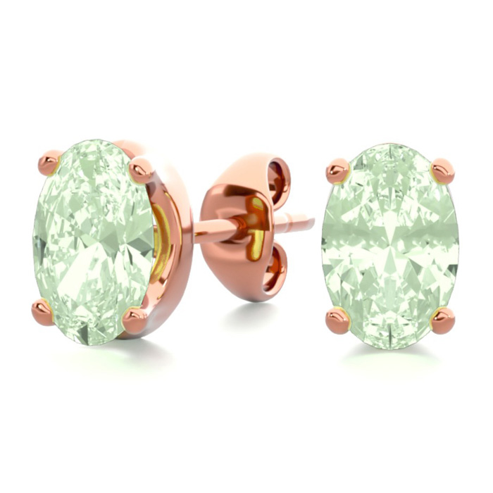 1 Carat Oval Shape Green Amethyst Stud Earrings in 14K Rose Gold
