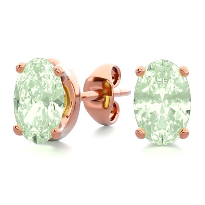 1 Carat Oval Shape Green Amethyst Stud Earrings in 14K Rose Gold Over Sterling Silver by SuperJeweler