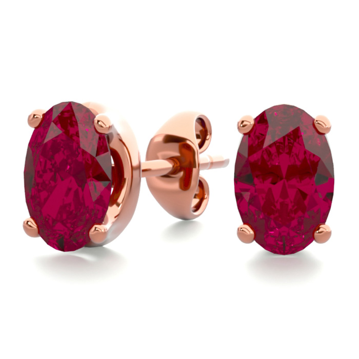 1 Carat Oval Shape Ruby Stud Earrings in 14K Rose Gold Over Sterl