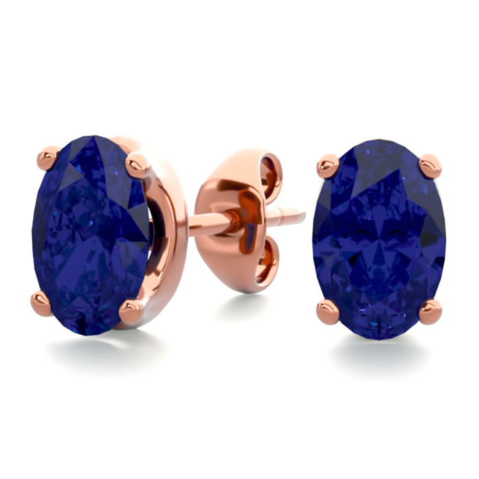 1 Carat Oval Shape Sapphire Stud Earrings in 14K Rose Gold Over S
