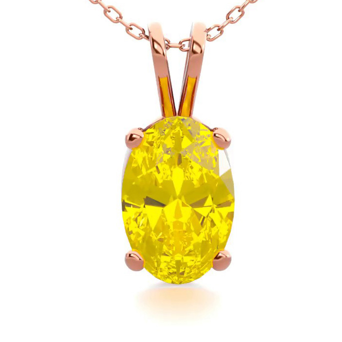 1/2 Carat Oval Shape Citrine Necklace in 14K Rose Gold Over Sterl